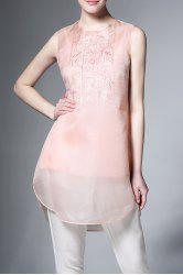See Through Flower Embroidered Sleeveless Dress -