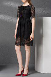 Lace Hollow Out Solid Color Dress -