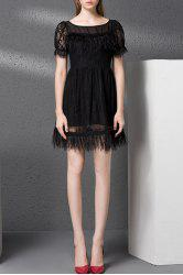 Fringed Embellished Zippered Hollow Out Dress -