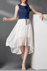 Flower Embellished High Low Faux Twinset Dress -