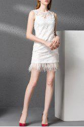 Feather Fringed Insert Zippered Dress -