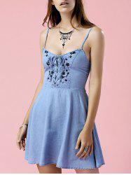 Alluring Embroidered Denim Skater Cami Dress