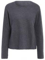 Basic Round Collar Long Sleeve Solid Color All-Match Women's Knitwear - GRAY L
