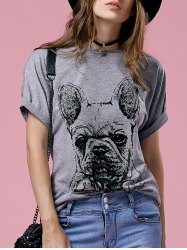 Cute Cartoon Print Round Neck Short Sleeve T-Shirt For Women