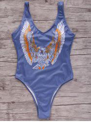 Stylish Plunging Neck Eagle Print One-Piece Women's Swimwear