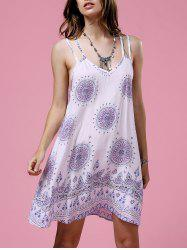 Ethnic Print Open Back Strappy Casual Dress -