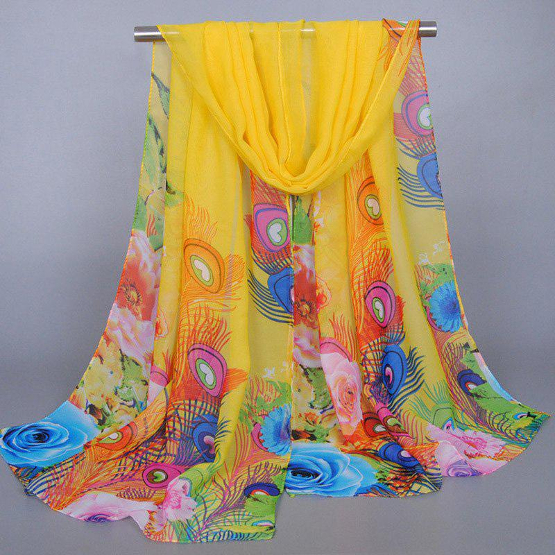 Chic Flowers Peacock Feathers Pattern Sunscreen Shawl Wrap Chiffon Scarf For WomenACCESSORIES<br><br>Color: YELLOW; Scarf Type: Scarf; Group: Adult; Gender: For Women; Style: Fashion; Material: Polyester; Season: Fall,Spring,Summer; Scarf Length: 135-175CM; Scarf Width (CM): 50CM; Weight: 0.062kg; Package Contents: 1 x Scarf;