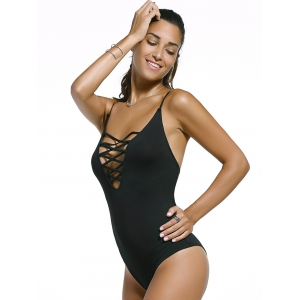 Backless Lace Up High Cut One Piece Swimwear - BLACK XL