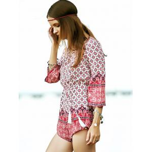 Trendy Lace-Up Ethnic Pattern Women's Playsuit -