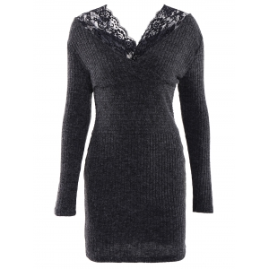 Simple V-Neck Long Sleeve Bodycon Women's Dress