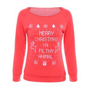 Stylish Scoop Neck Long Sleeves Printed Sweatshirt For Women - Red - Xl
