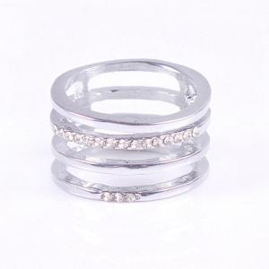 Hollow Out Rectangle Rhinestone Ring -