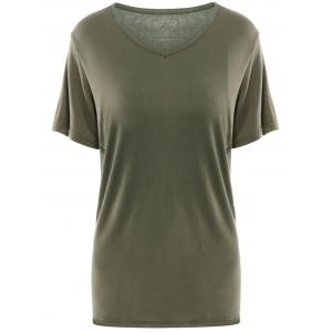 Simple V Neck Short Sleeves Pure Color Women's T-Shirt - Army Green - Xl