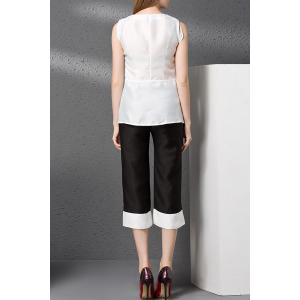 Embroidery Tank Top and Hit Color Capri Pants Twinset -