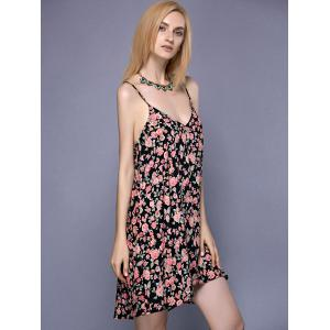 Alluring Spaghetti Strap Tiny Floral Print Women's Dress -