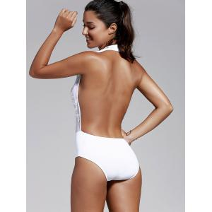 Women's Refreshing Plunging Neck Backless One Piece Swimwear -