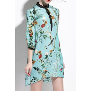 Stand Collar Floral Pattern Asymmetric Dress -