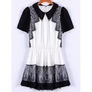 Collared Lace Trim Mini Chiffon Dress