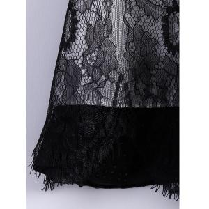 Collared Lace Trim Mini Chiffon Dress - BLACK M