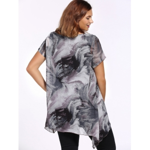 Chic Plus Size Asymmetric Printed Women's Blouse -