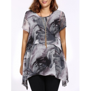 Chic Plus Size Asymmetric Printed Women's Blouse
