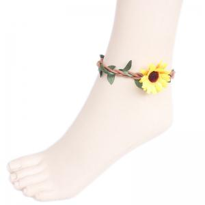 Bohemia Faux Flower Leaf Branch Girl Beach Anklets - Yellow