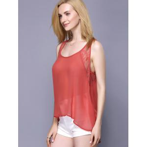 Sweet Scoop Neck Lace Spliced Women's Tank Top -