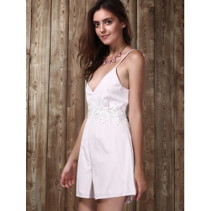 Lace Insert Backless Cami Romper -