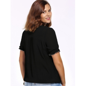 Chic Plus Size V Neck Flower Embroidered Women's Blouse -