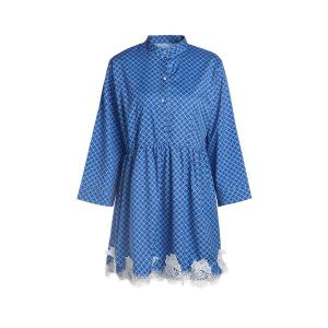 Casual Long Sleeve Geometry Print Lace Splicing Mini Dress For Women - Blue - M