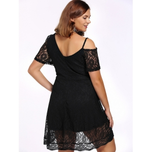 Alluring Plus Size Plunging Neck Cut Out Women's Lace Dress -