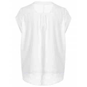 Simple Design Jewel Neck Short Sleeve White Top For Women -