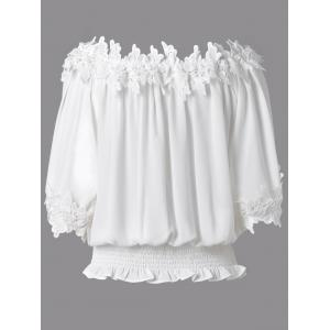 Sweet Off The Shoulder White Lacy 3/4 Sleeve Blouse For Women -
