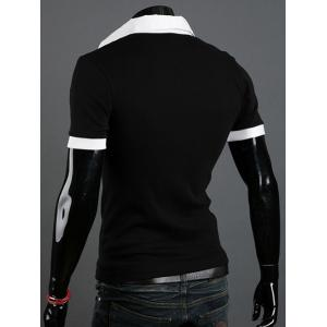 Turn-Down Collar Faux Twinset Short Sleeve Splicing T-Shirt For Men -