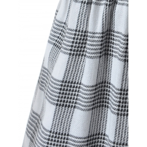Slit Plaid Short Sleeve Casual Dress - GRAY S