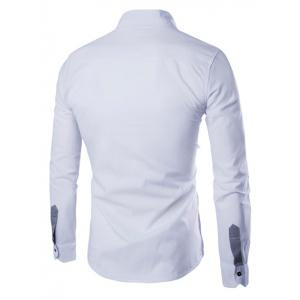 Turn-Down Collar Color Block Splicing Pocket Design Long Sleeve Shirt For Men - WHITE 2XL