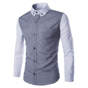 Turn-Down Collar Color Block Splicing Pocket Design Long Sleeve Shirt For Men