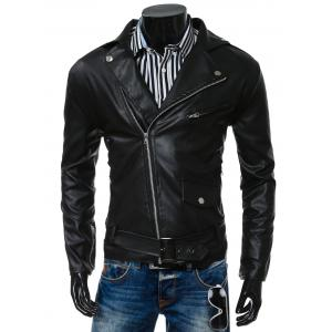Turn-Collar PU-Leather Belt Embellished Epaulet Long Sleeve Jacket For Men - Black - M