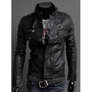 Stand Collar PU-Leather Belt Embellished Epaulet Long Sleeve Jacket For Men - Black - M