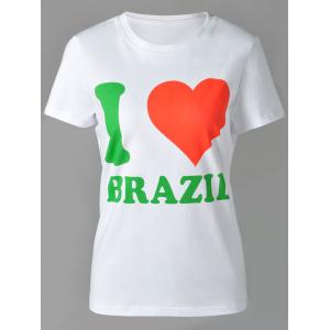 Casual Round Neck Letter and Heart Print Short Sleeve T-Shirt For Women