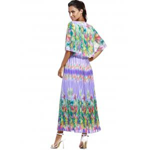 Print Ruffle Pleated Chiffon Maxi Dress -