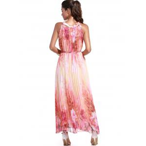 Sleeveless Print Pleated Maxi Dress with Belt -