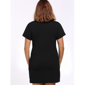 Alluring Plus Size Cut Out Black Buckle Women's Dress -