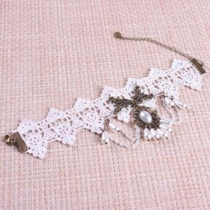 Vintage Faux Pearl Beads Lace Anklet -