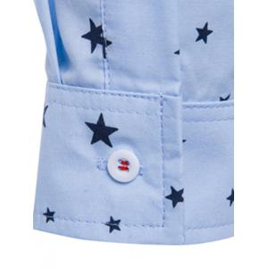 Turn-Down Collar Stars Printed Long Sleeve Shirt For Men -