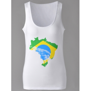 Brief U-Neck Map Print Tank Top For Women - White - S
