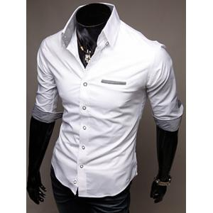 Turn-Down Collar Edging Design Shirt For Men - WHITE XL