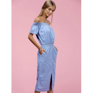Stylish Off The Shoulder Short Sleeve Slit Dress For Women -