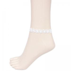 Lolita Style White Hollow Out Floral Lace Anklet For Women - White