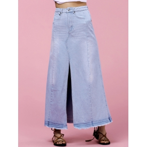 High-Waisted Pocket Design Denim Maxi Skirt With Slit